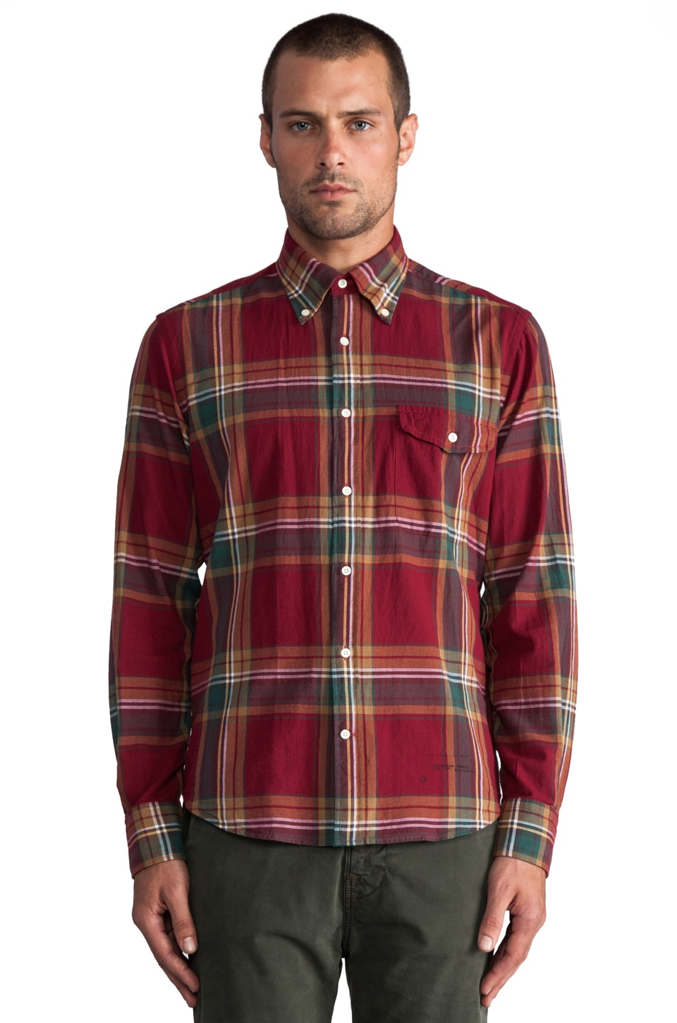 GANT Rugger Fall Madras E-Z Button Down in Burgundy Multi