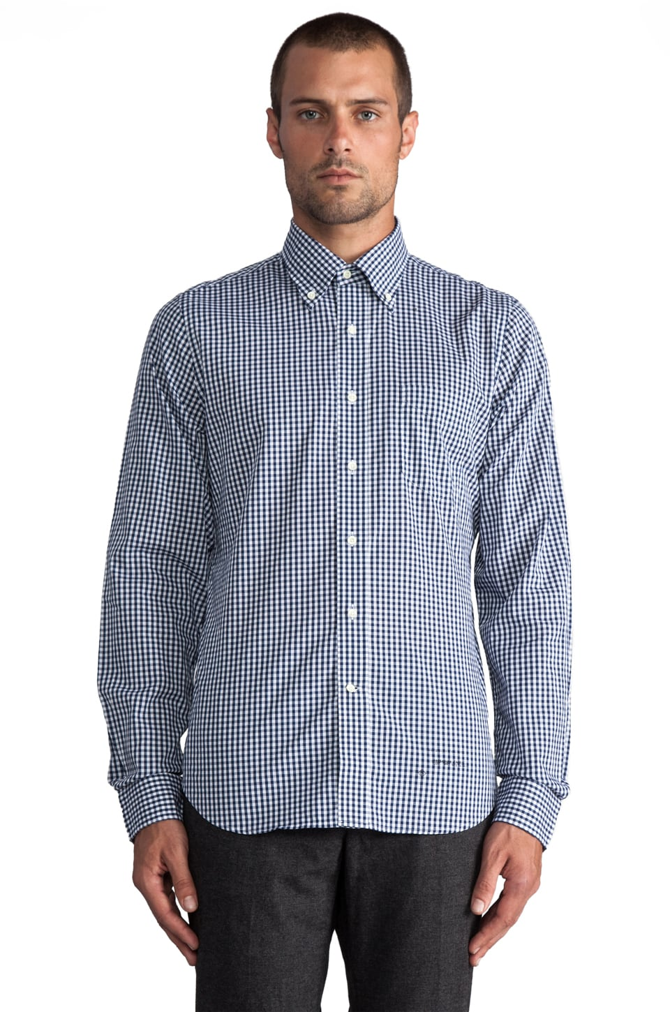 GANT Rugger Imported Fabric Gingham Button Down in Blue