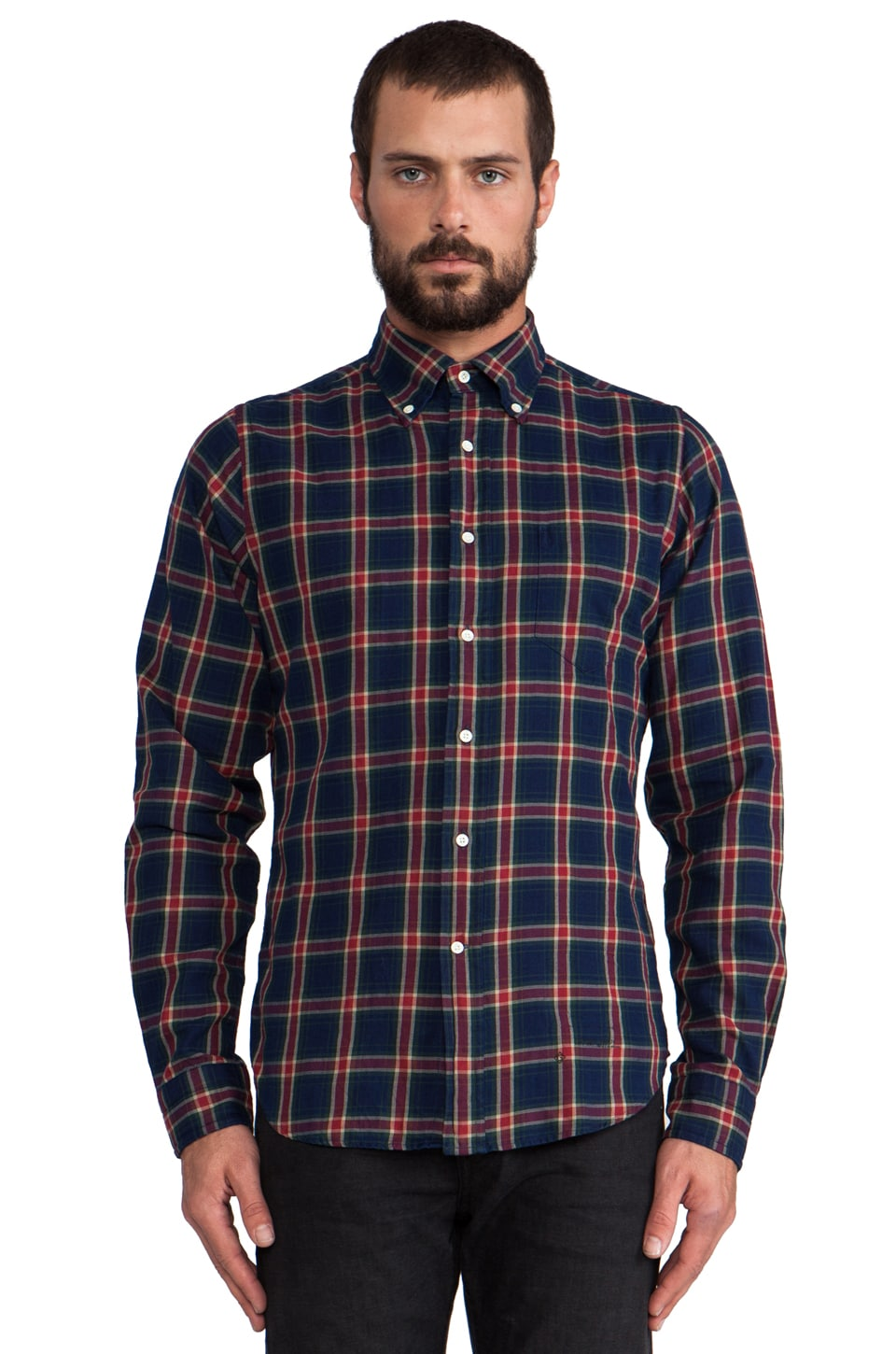 GANT Rugger Indigo Twill Button Down in Blue/Red