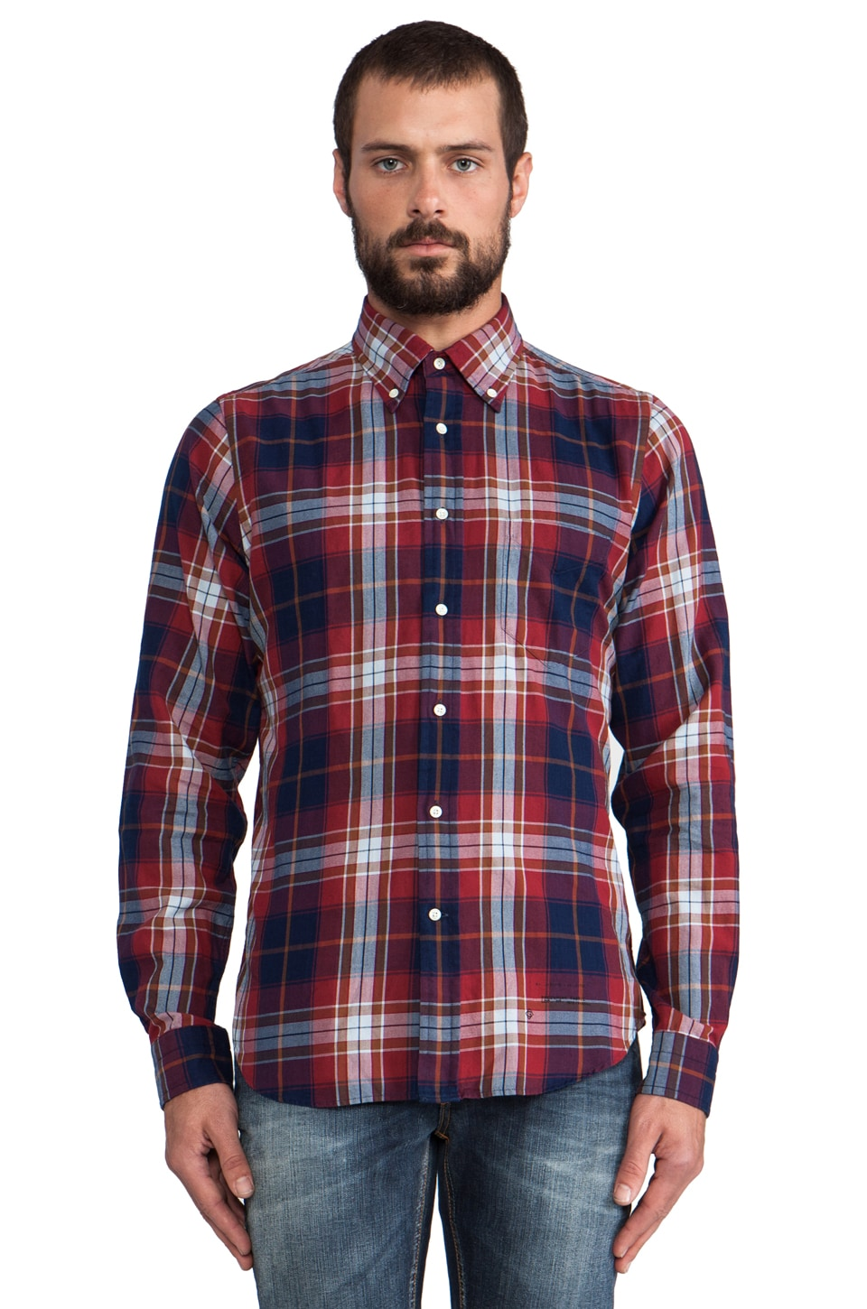 GANT Rugger Indigo Twill Button Down in Red/Blue