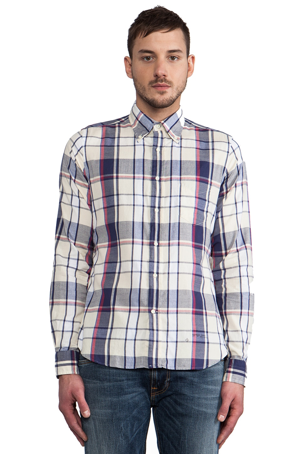 GANT Rugger Windblown Oxford in White & Navy & Red