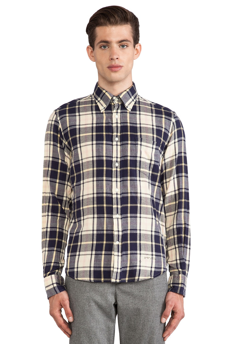 GANT Rugger Windblown Flannel in Navy & White