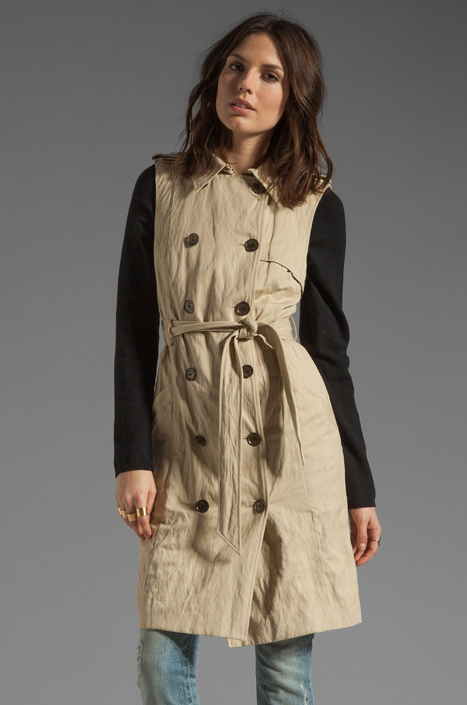 Gryphon Knit Sleeve Trench in Tan/Black