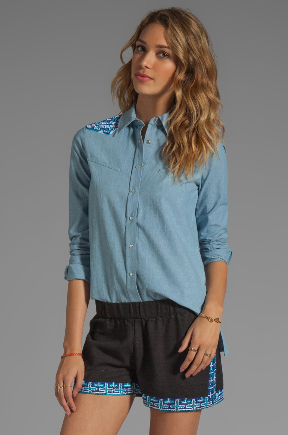 Gryphon Western Shirt in Blue