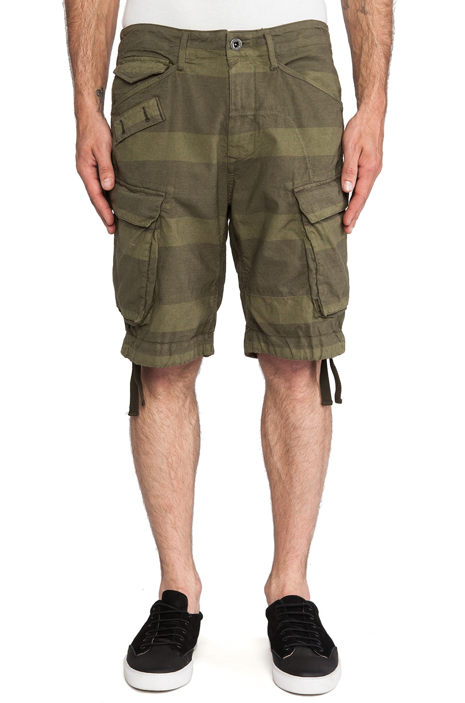 G-Star Rovic Desert Loose Bermuda Desert Stripe in Sage