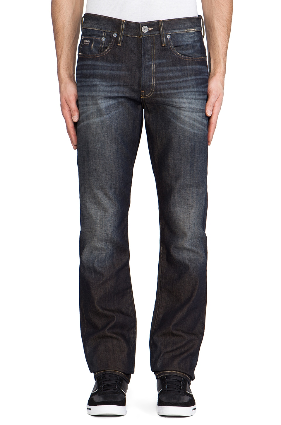 G-Star 3301 Straight Fall Denim in Vintage Aged