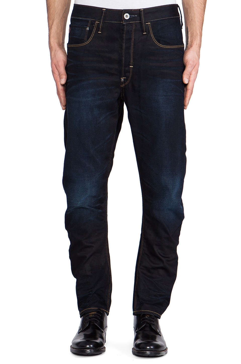 G-Star Type C 3D Loose Tapered Lexicon Denim in Indigo Aged