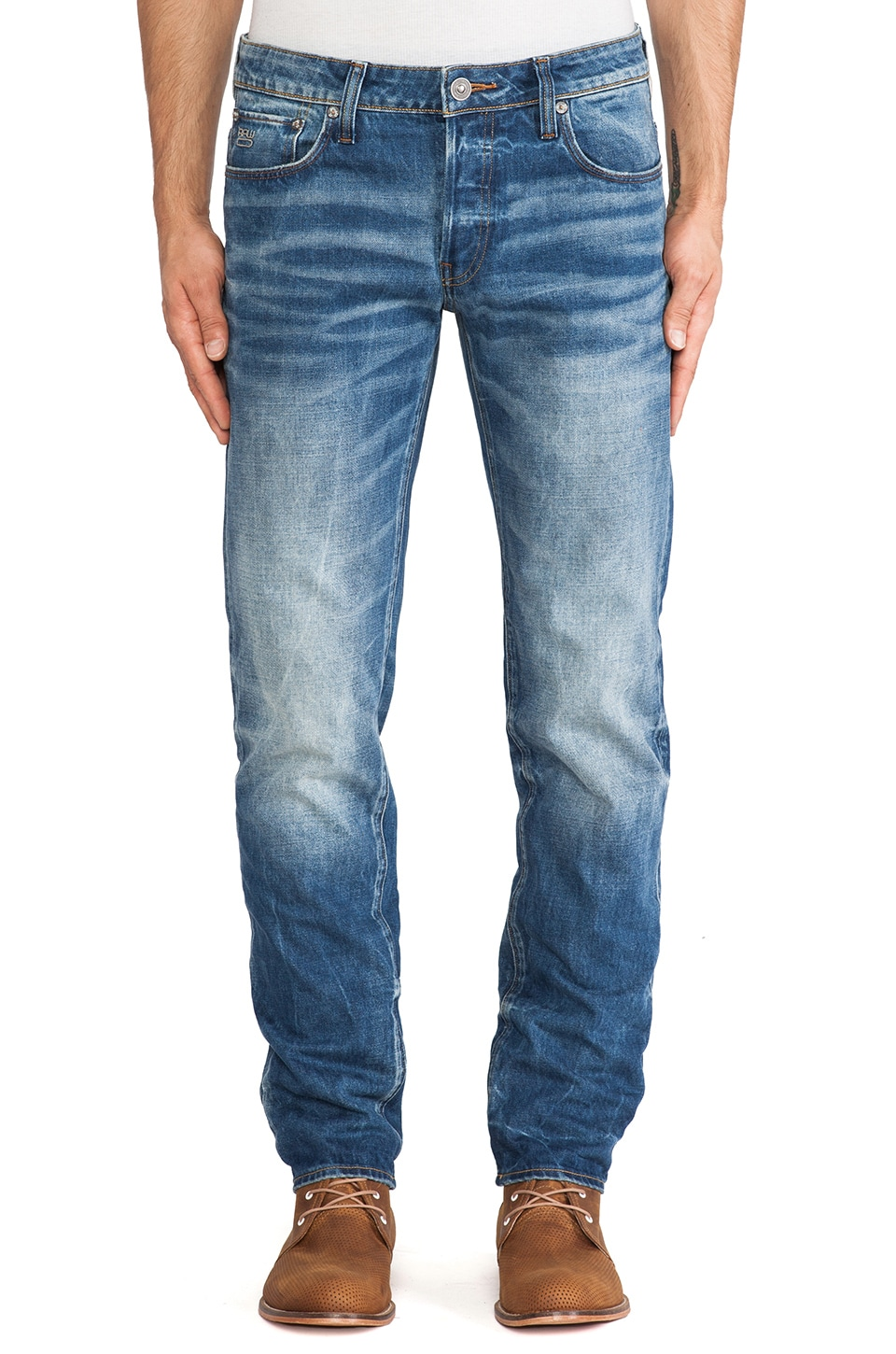 G-Star 3301 Low Tapered Sheldy Denim in Medium Aged
