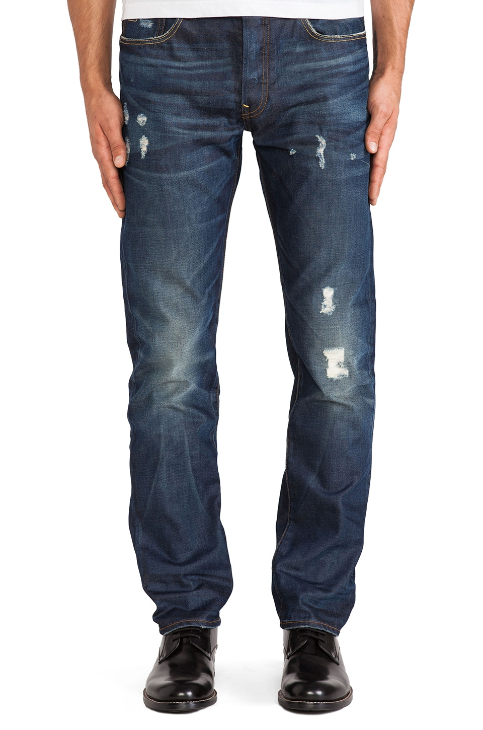 G-Star 3301 Straight Taland Denim in Vintage Medium Aged Destroy