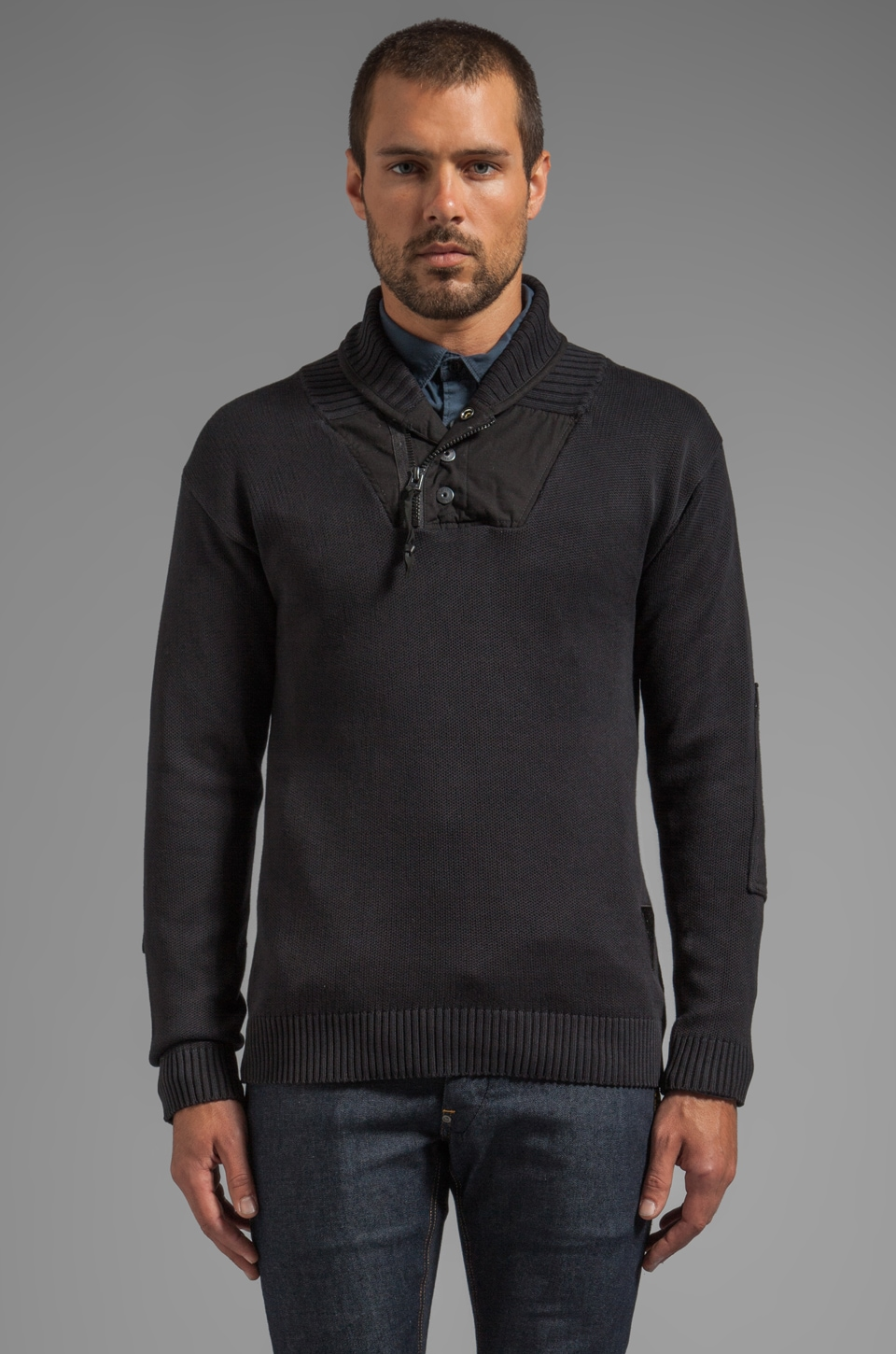 G-Star Process Shawl Collar Knit in Black