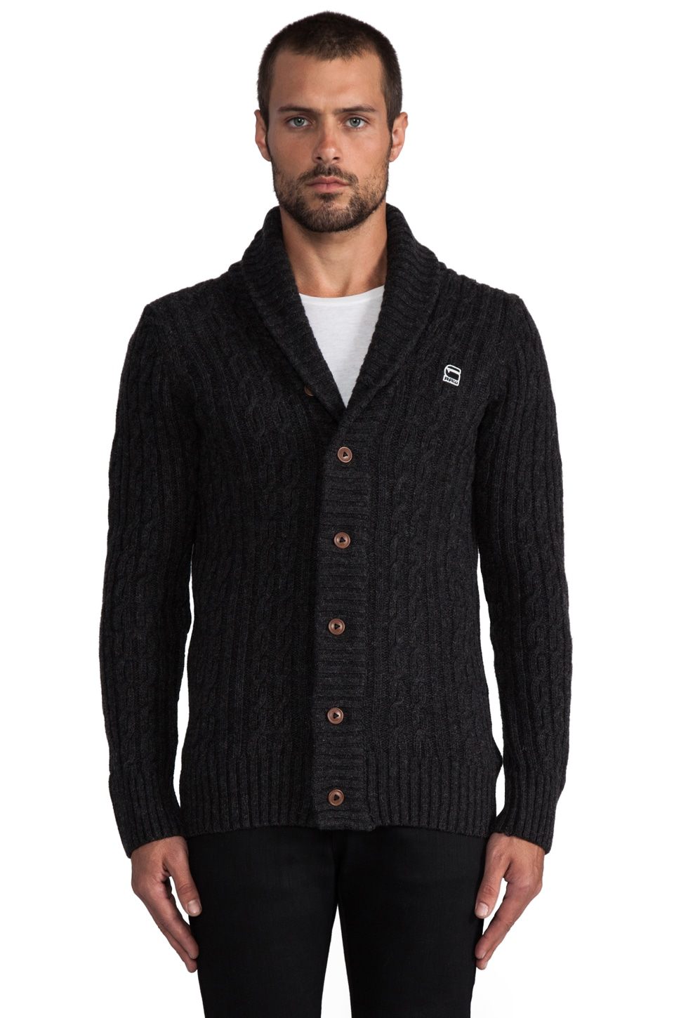 G-Star Nimrod Shawl Cardigan en Black Heather