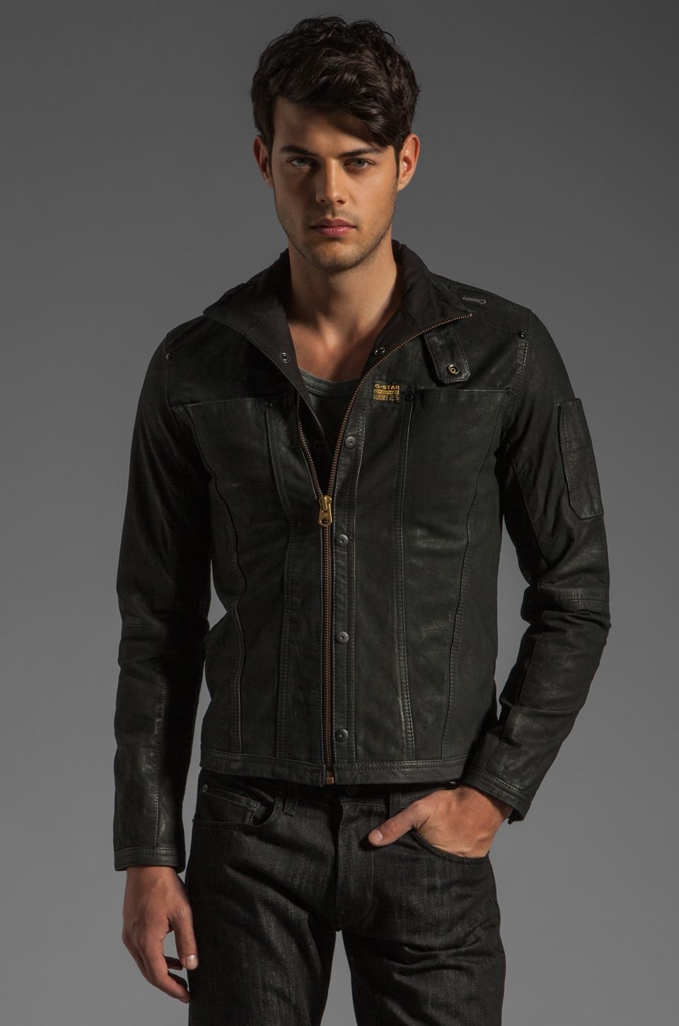 G-Star Modernist Leather Jacket in Black