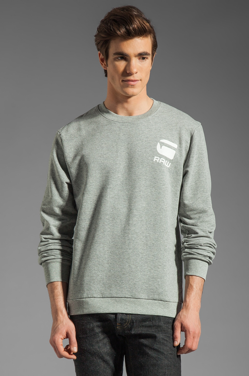 G-Star Carvell Logo Sweatshirt in Grey Heather