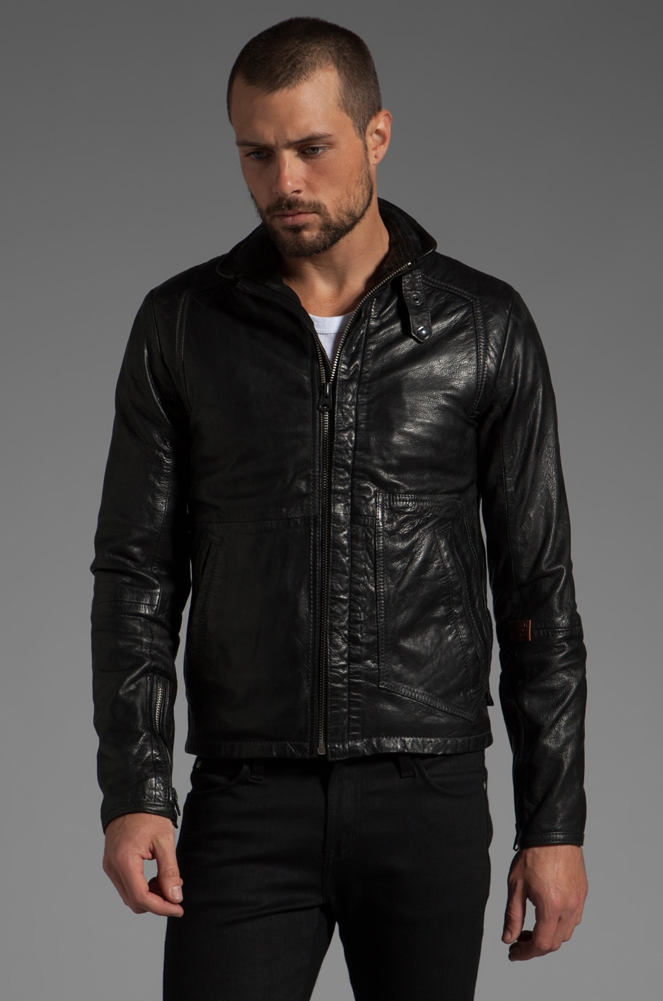 G-Star RCO Brando Leather Jacket in Black