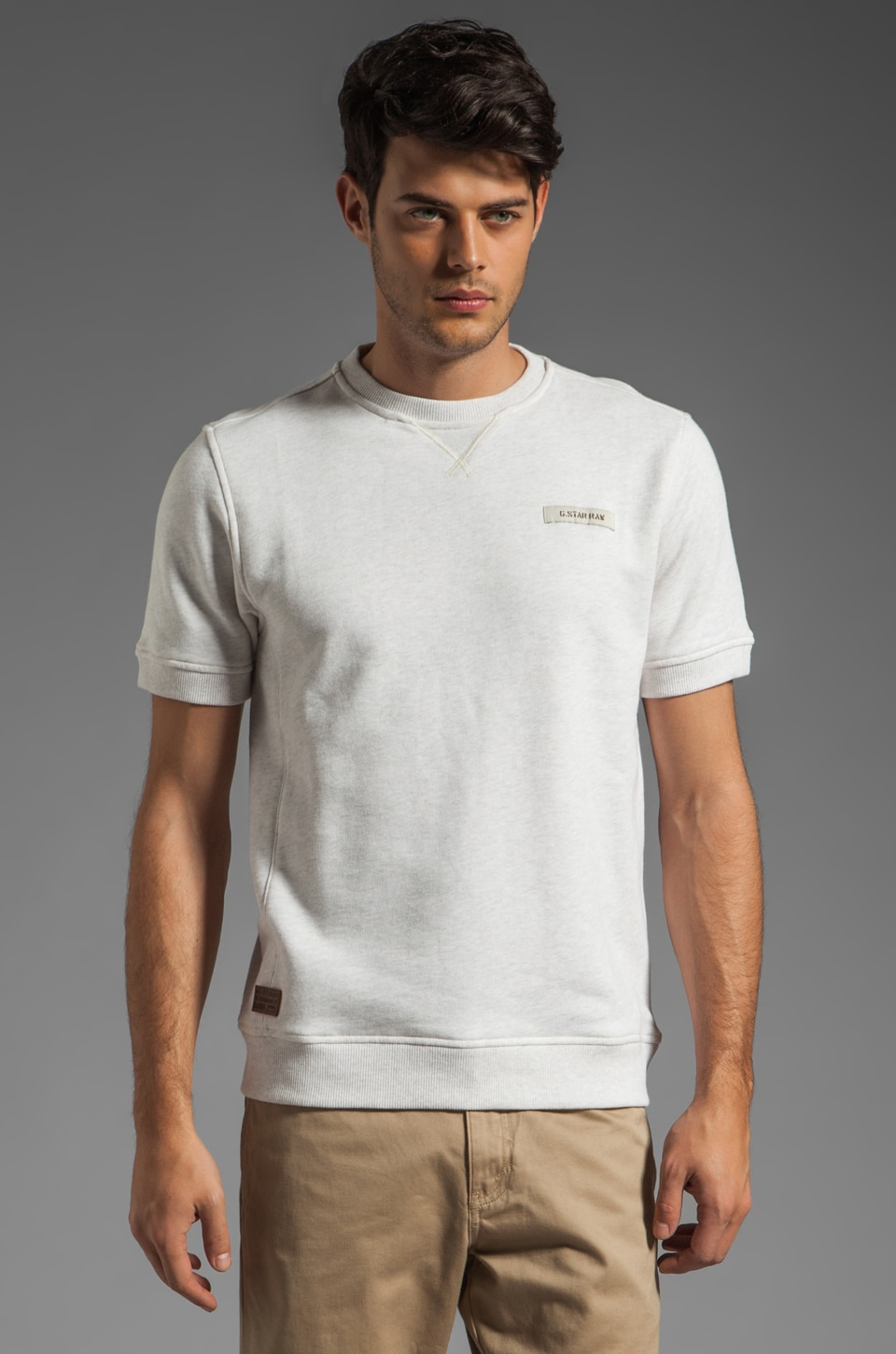 G-Star Ridge Short Sleeve Sweatshirt in Light Chalk Heather