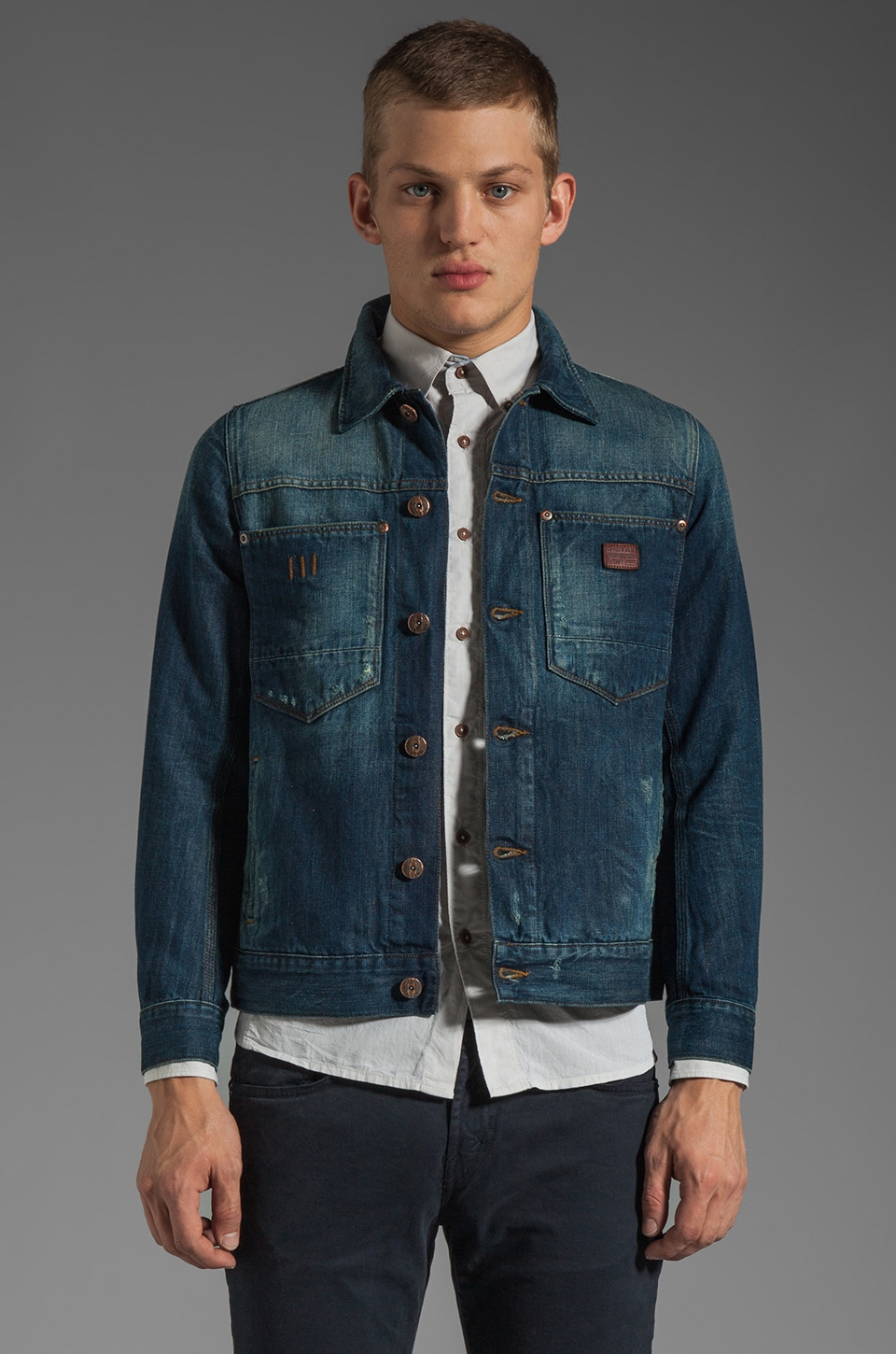 G-Star Ranch Denim Jacket in Medium Aged Destroy