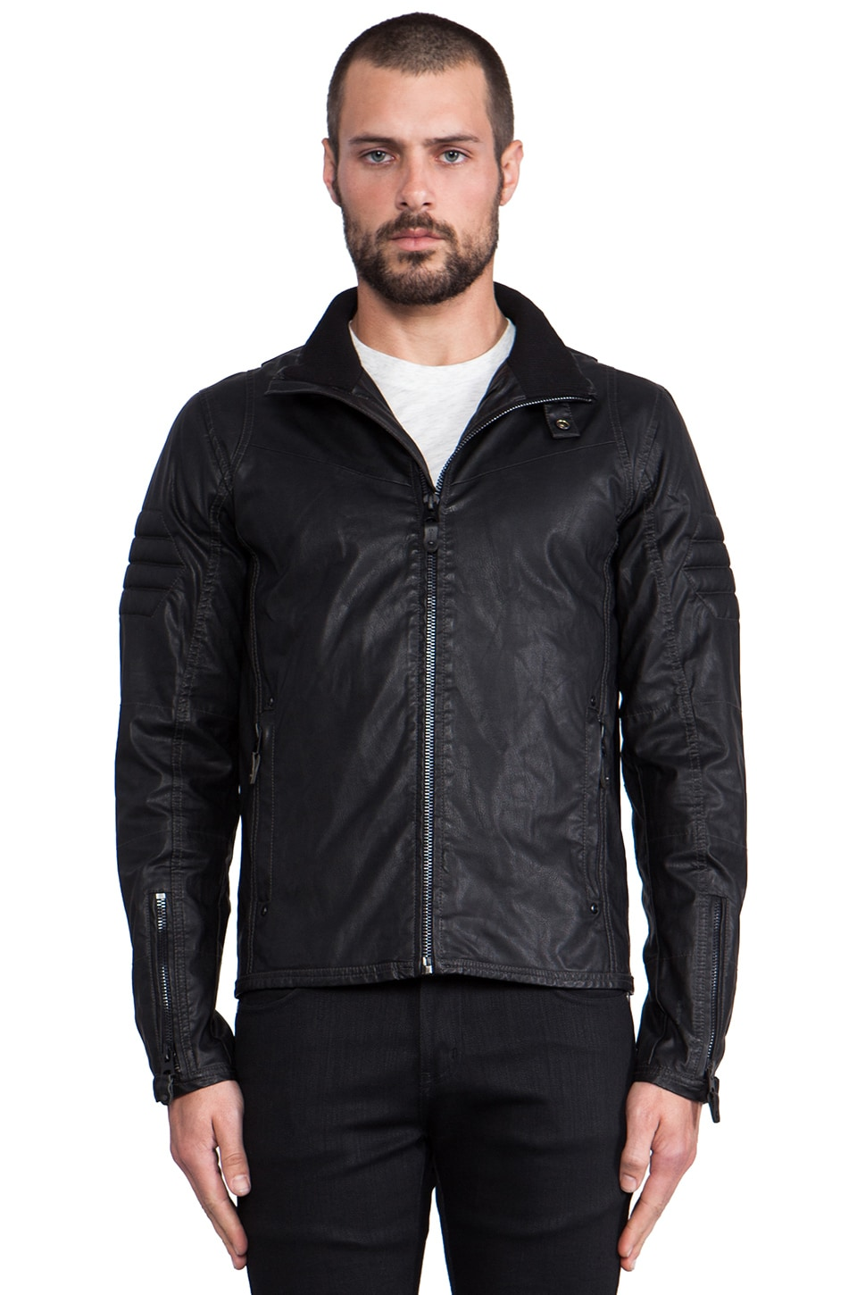 G-Star Branco Vegan Leather Jacket in Black