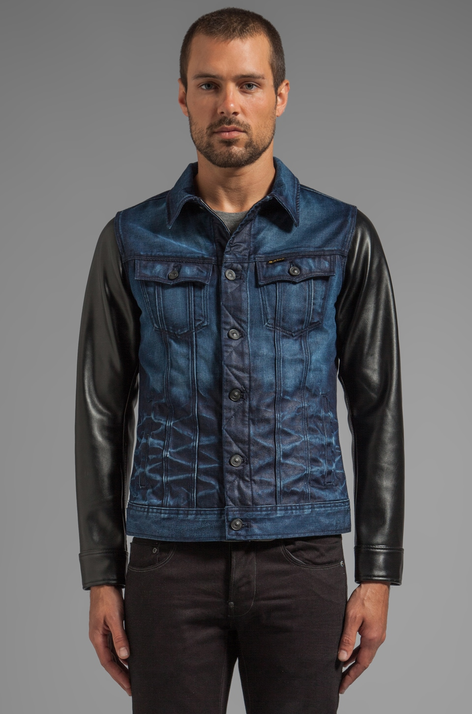 G-Star Slim Tailor Leather Sleeve Jacket in Dark Aged
