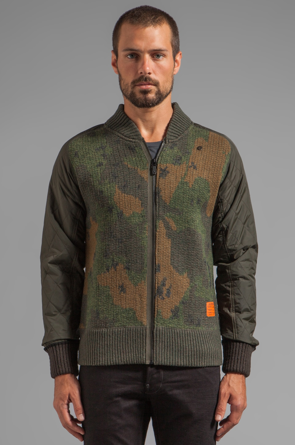 G-Star Strike Camo Vest Knit in Arsenic Heather