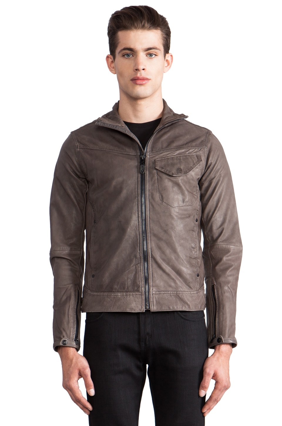 G-Star JSF Leather Jacket in Castor