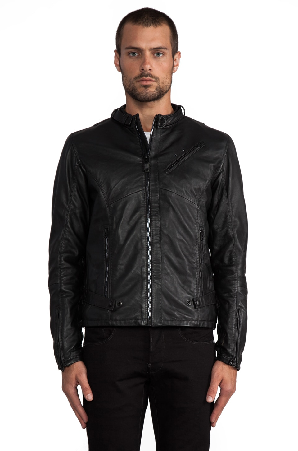 G-Star Chopper Leather Jacket in Black