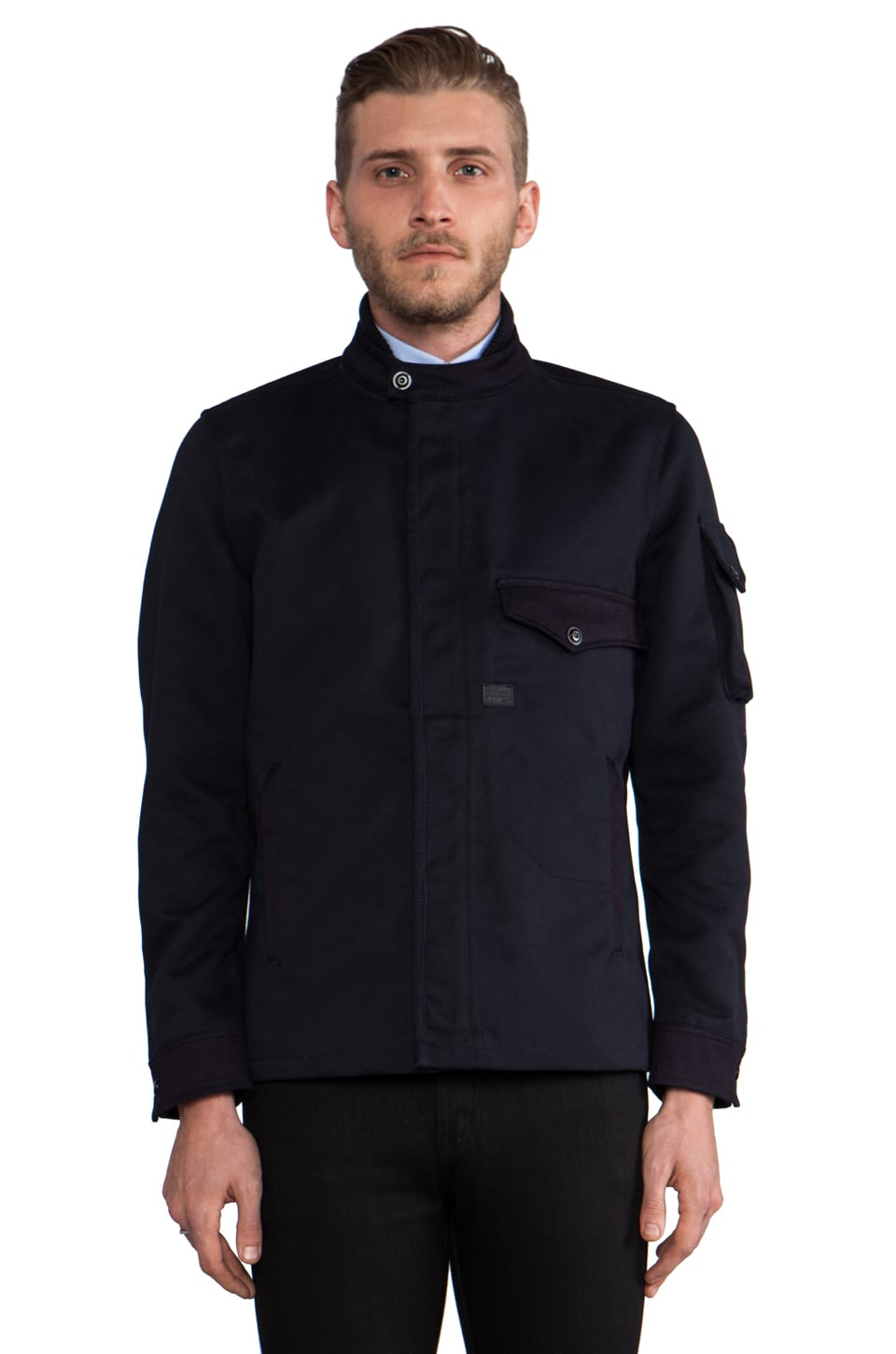 G-Star Davin Zip Overshirt in Mazarine Blue