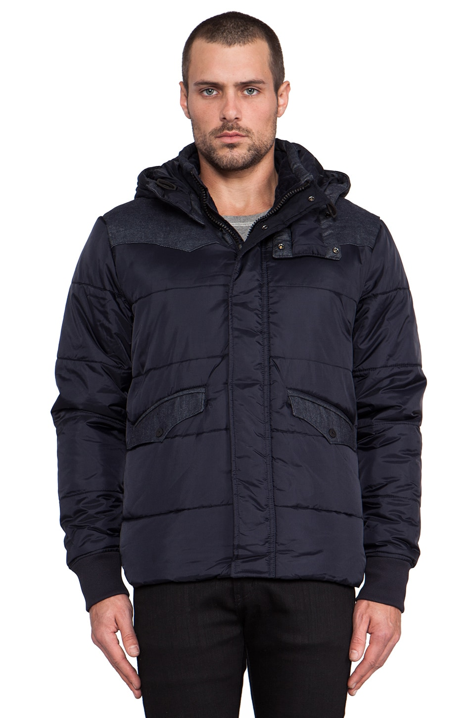 G-Star Western Padded Hooded Jacket in Mazarine Blue