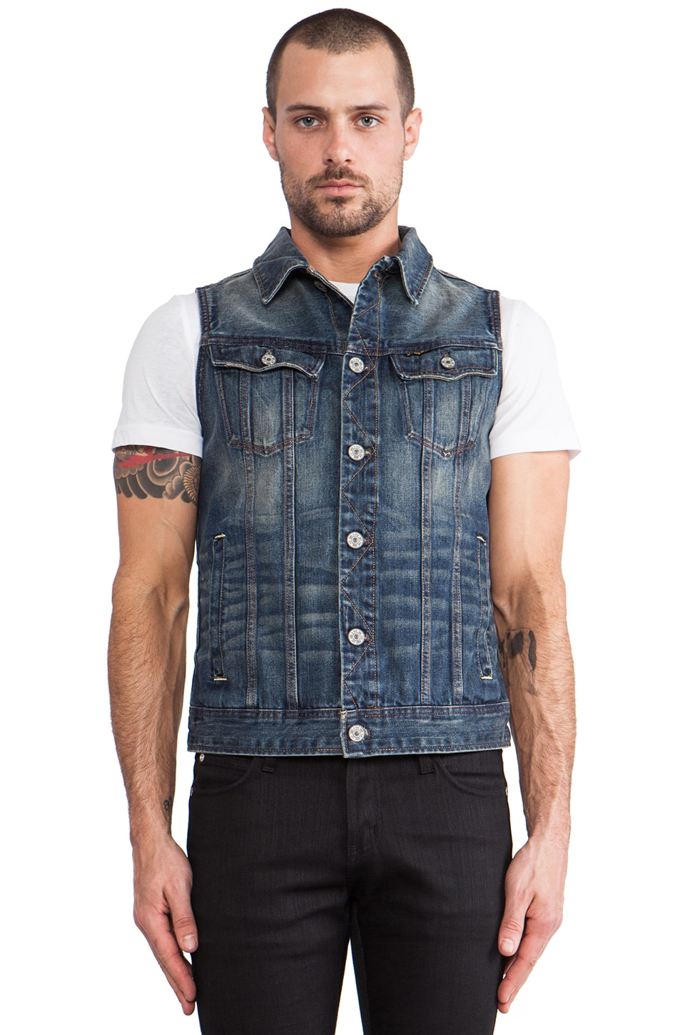 G-Star Slim Tailor Vest Dalex Denim in Medium Aged