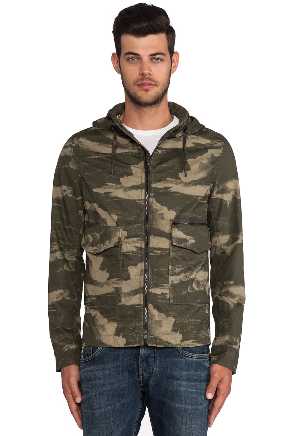 G-Star Troupman Hooded Overshirt in Combat
