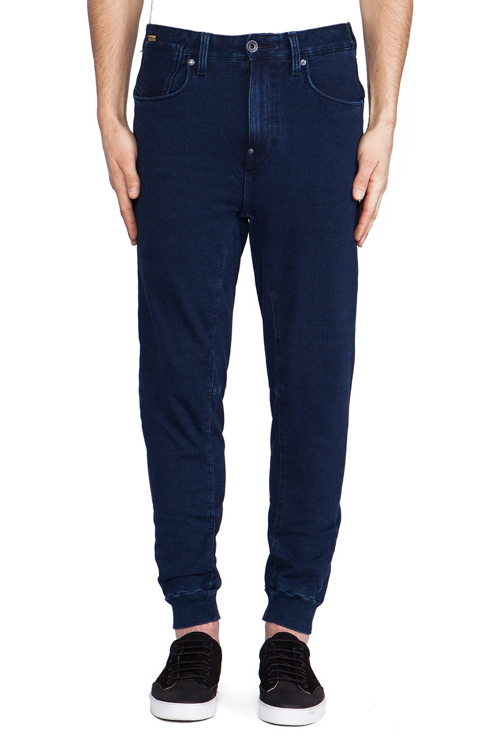 G-Star A Crotch Sweatpant Tapered Indigo Jog in Dark Aged