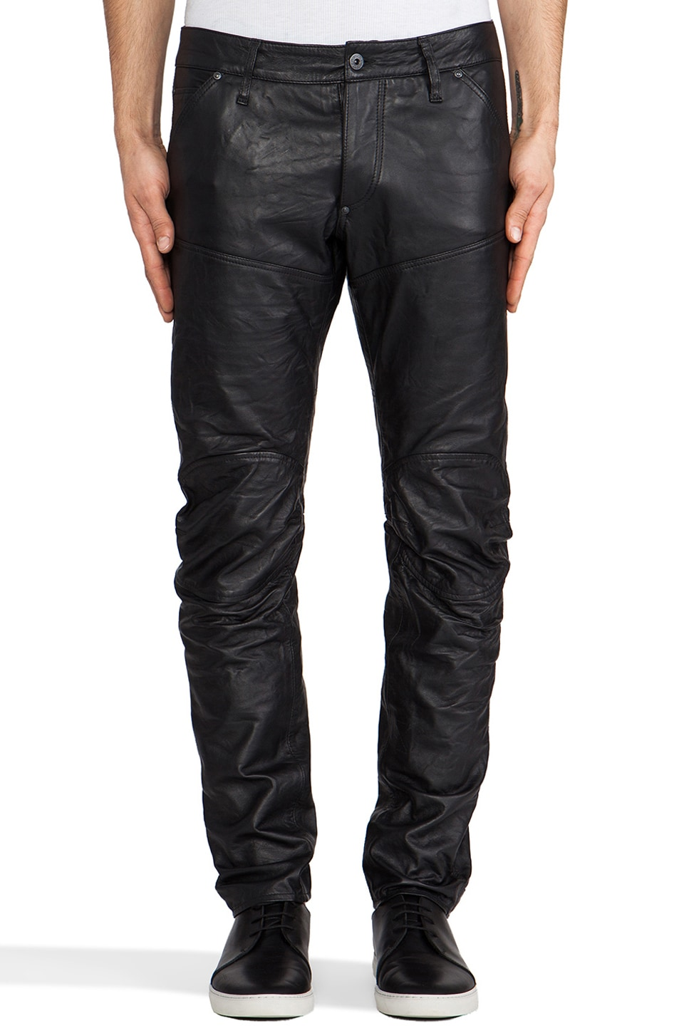 G-Star Leather 5620 3D Low Tapered in Black