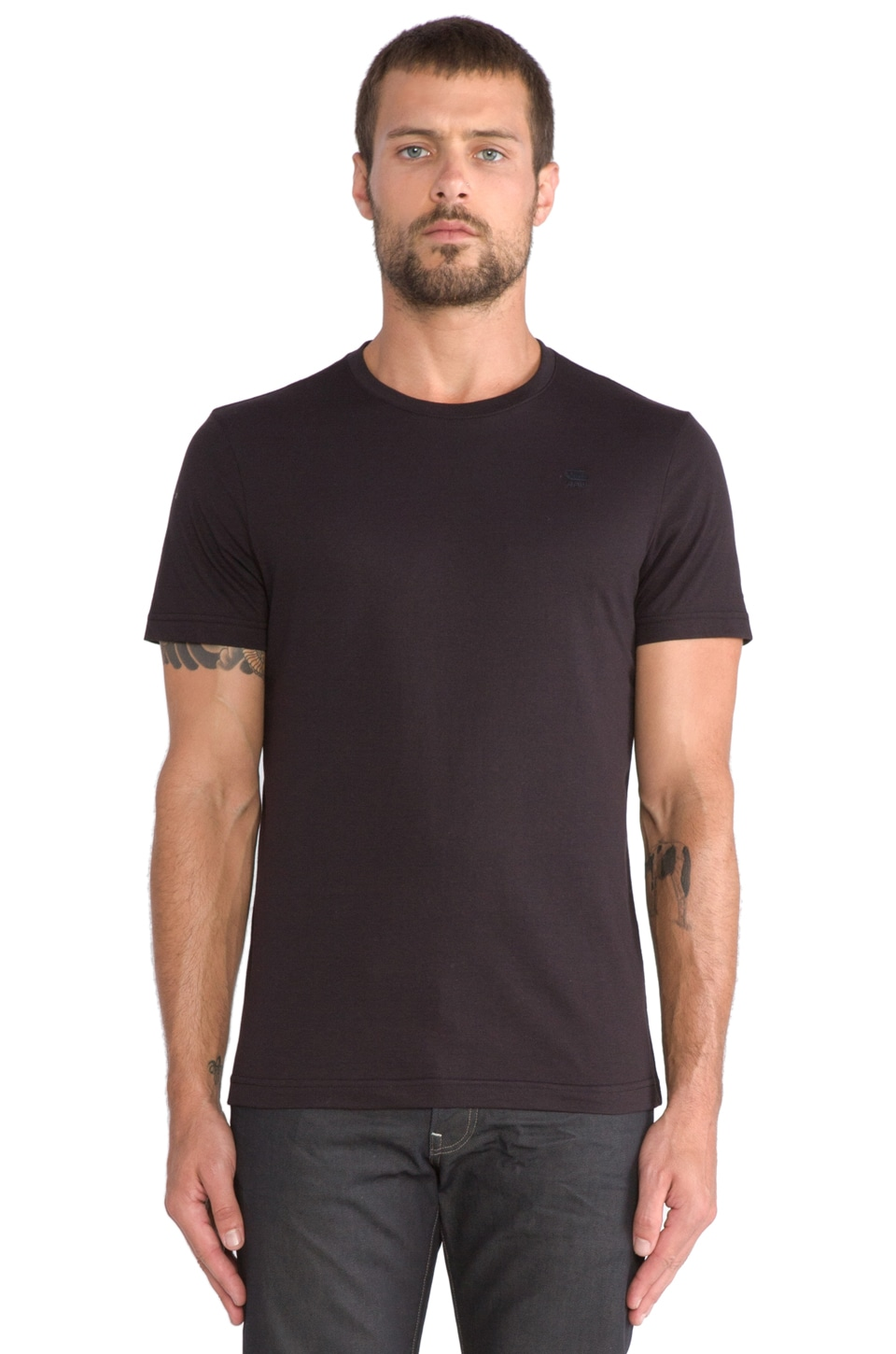 G-Star Double Pack Short Sleeve Crew in Solid Black