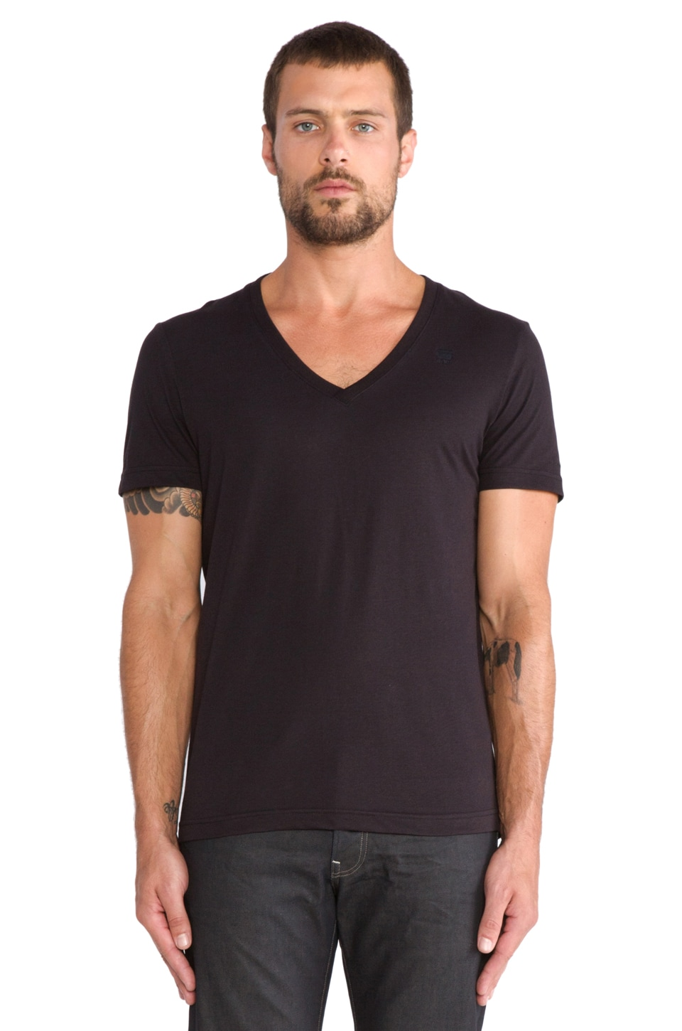 G-Star 2 Pack Short Sleeve V-Neck Tee in Solid Black