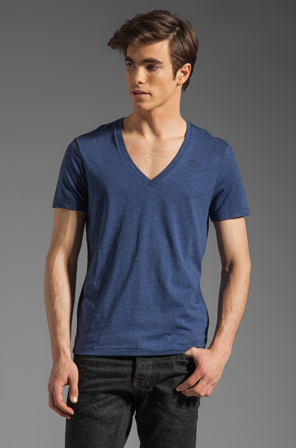 G-Star Heather V Neck 2 Pack in Shade