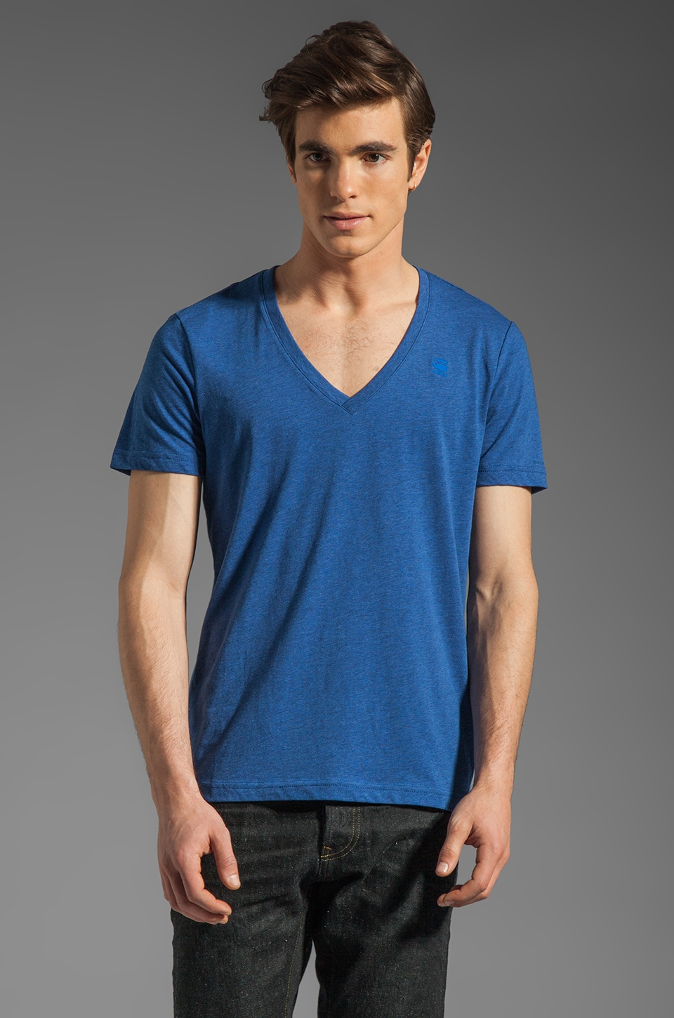 G-Star Heather V Neck 2 Pack in True Blue