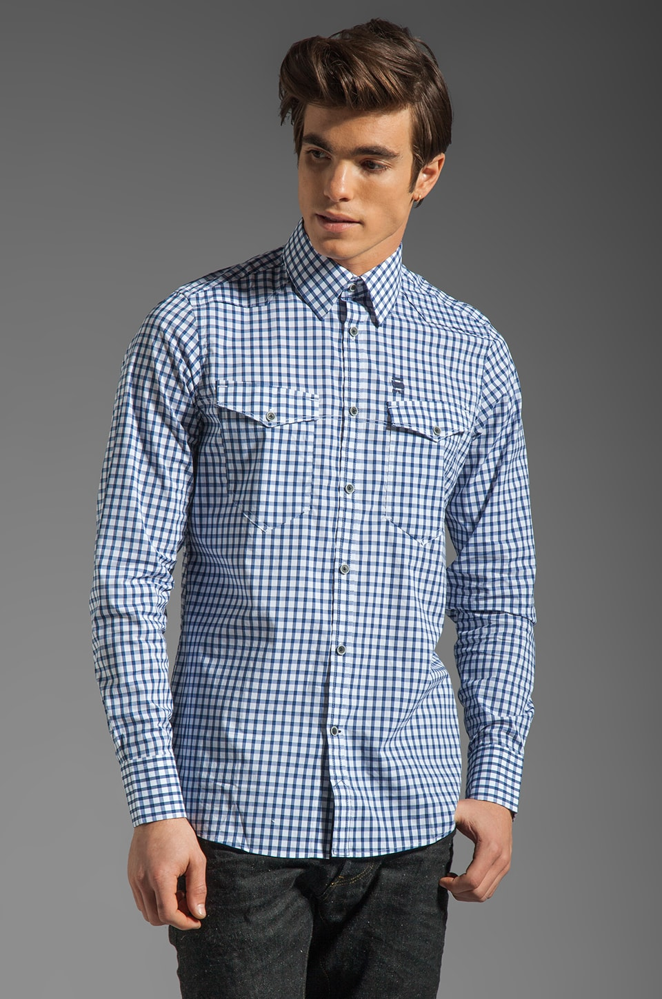 G-Star New Western Check Shirt in Swedish Blue