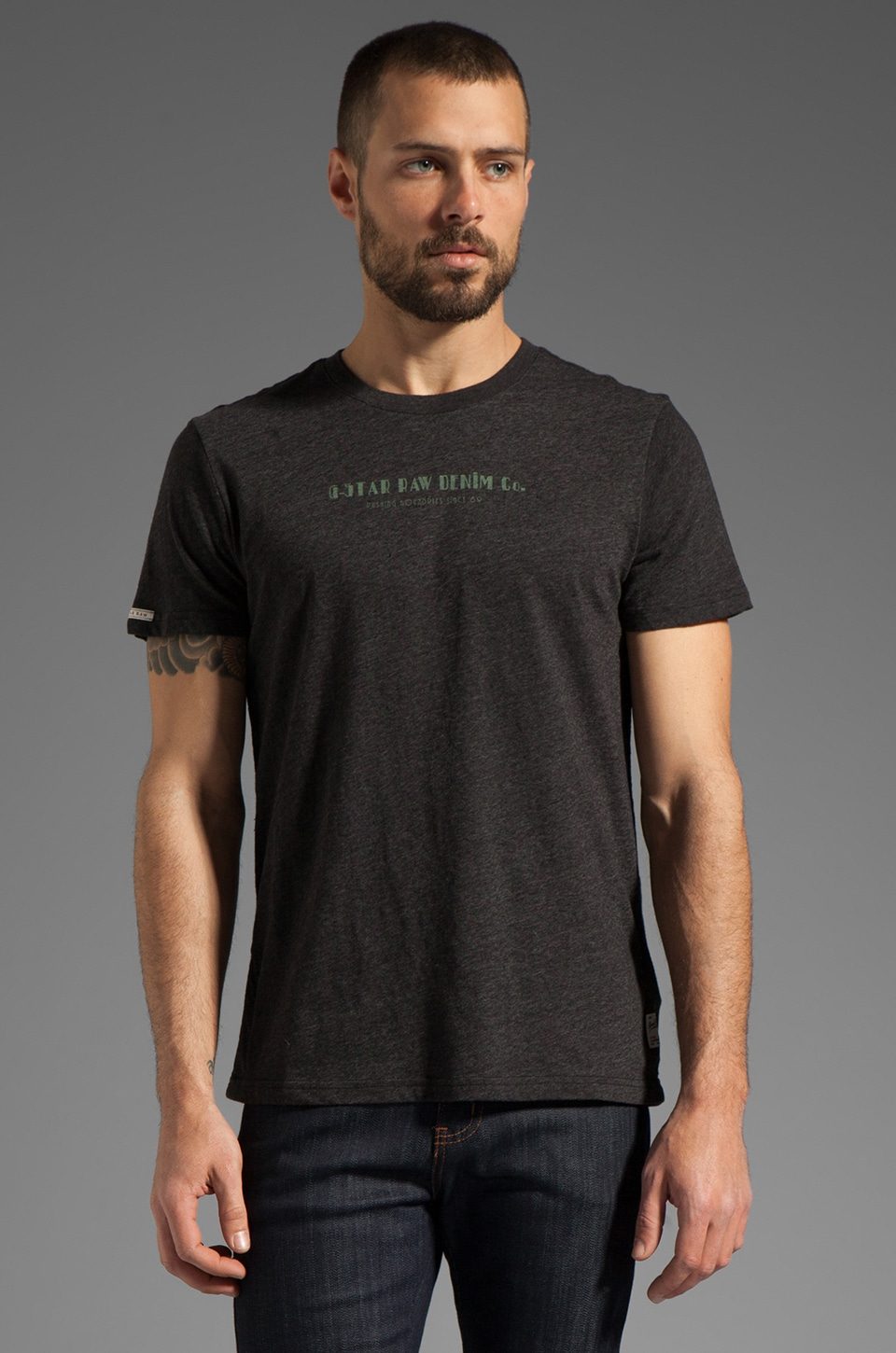 G-Star Art Atlas Tee in Black Heather
