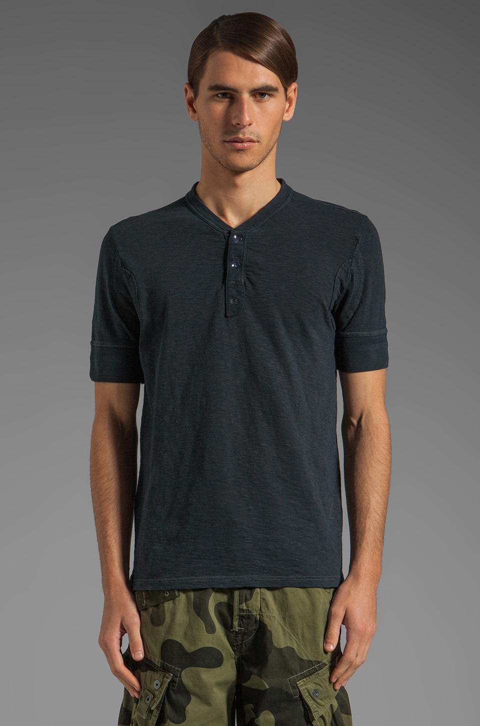 G-Star Granddad Short Sleeve Henley in Dark Navy