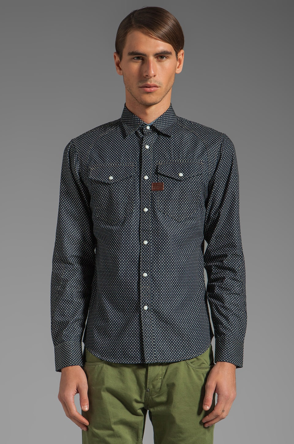 G-Star Arizona Dot Shirt in Dark Aged