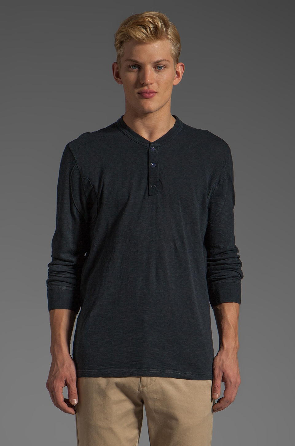 G-Star Granddad Long Sleeve Henley in Dark Navy