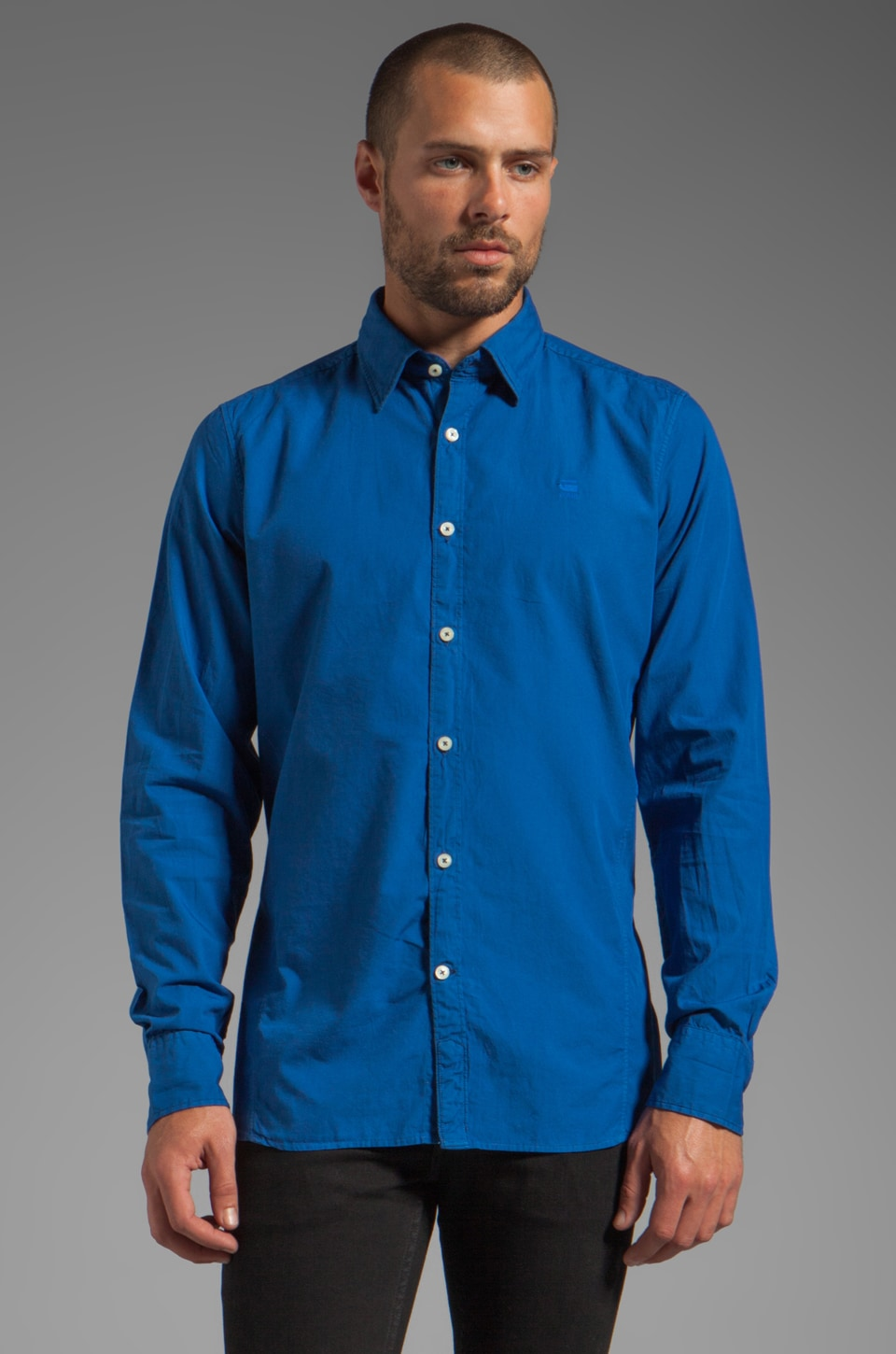 G-Star New Base Long Sleeve Shirt in True Blue