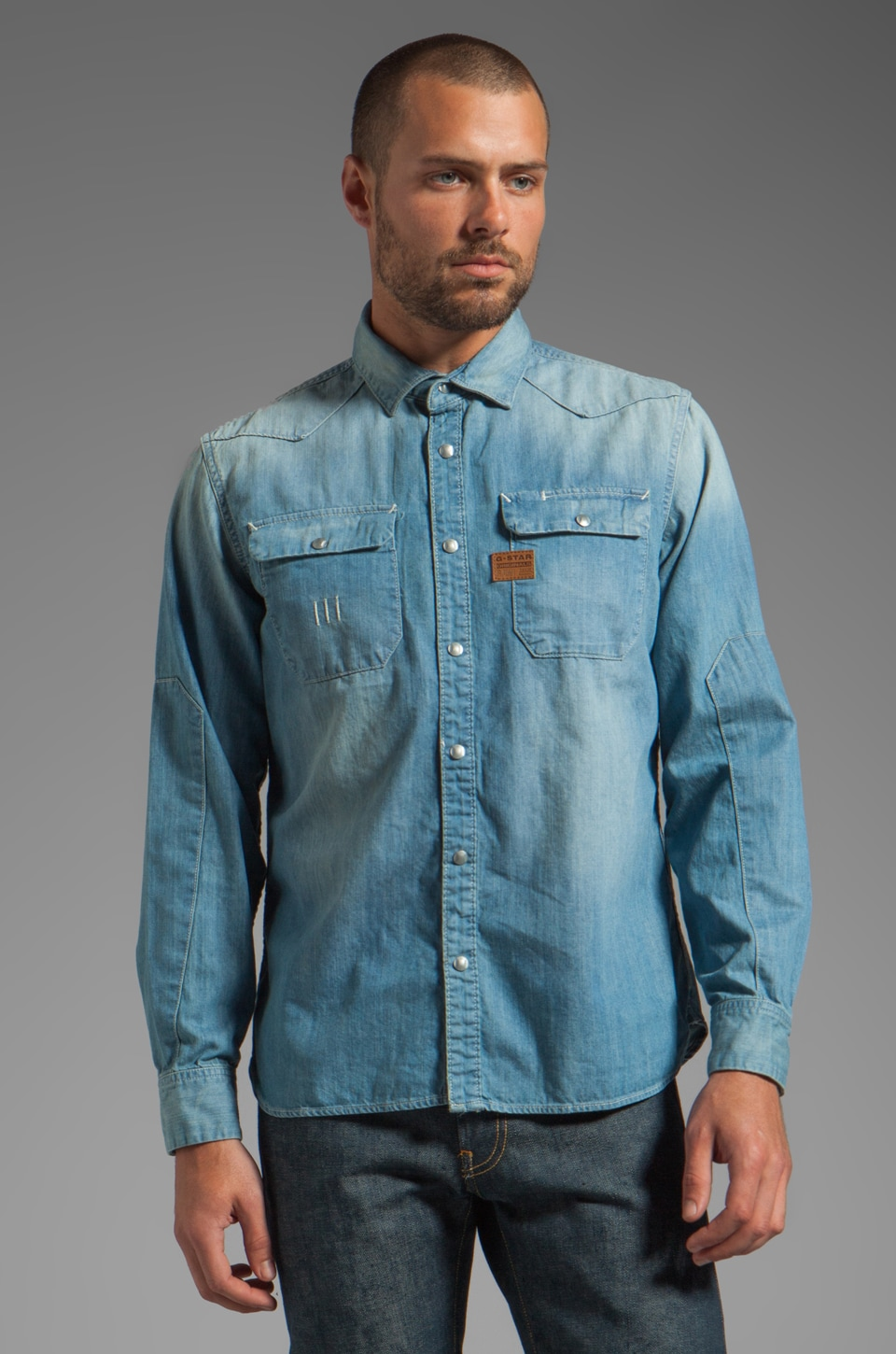 G-Star Construct Long Sleeve Denim Shirt in Light Aged