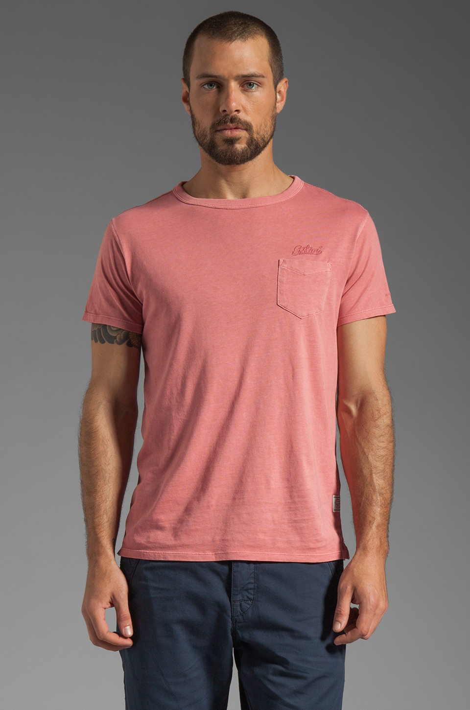 G-Star Tube RT Tee in Dusty Rose