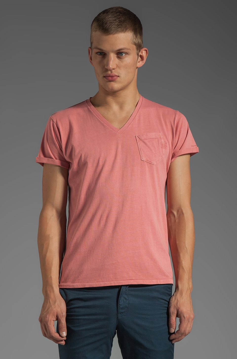 G-Star Ace 50's V Tee in Dusty Rose