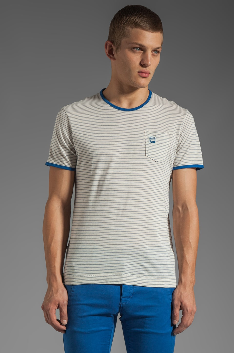 G-Star Brad Stripe Tee in True Blue