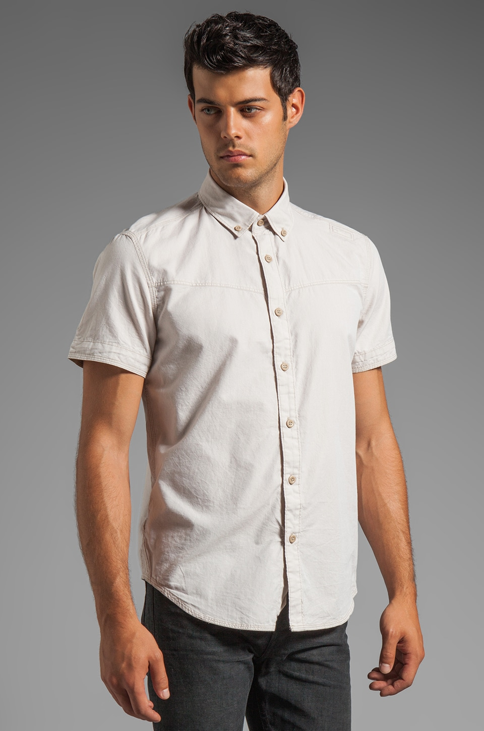 G-Star Swell Short Sleeve Button Down in Douglas Oxford Khaki