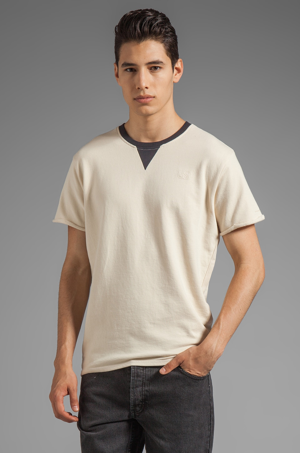 G-Star Boot Short Sleeve Sweatshirt in Chalk