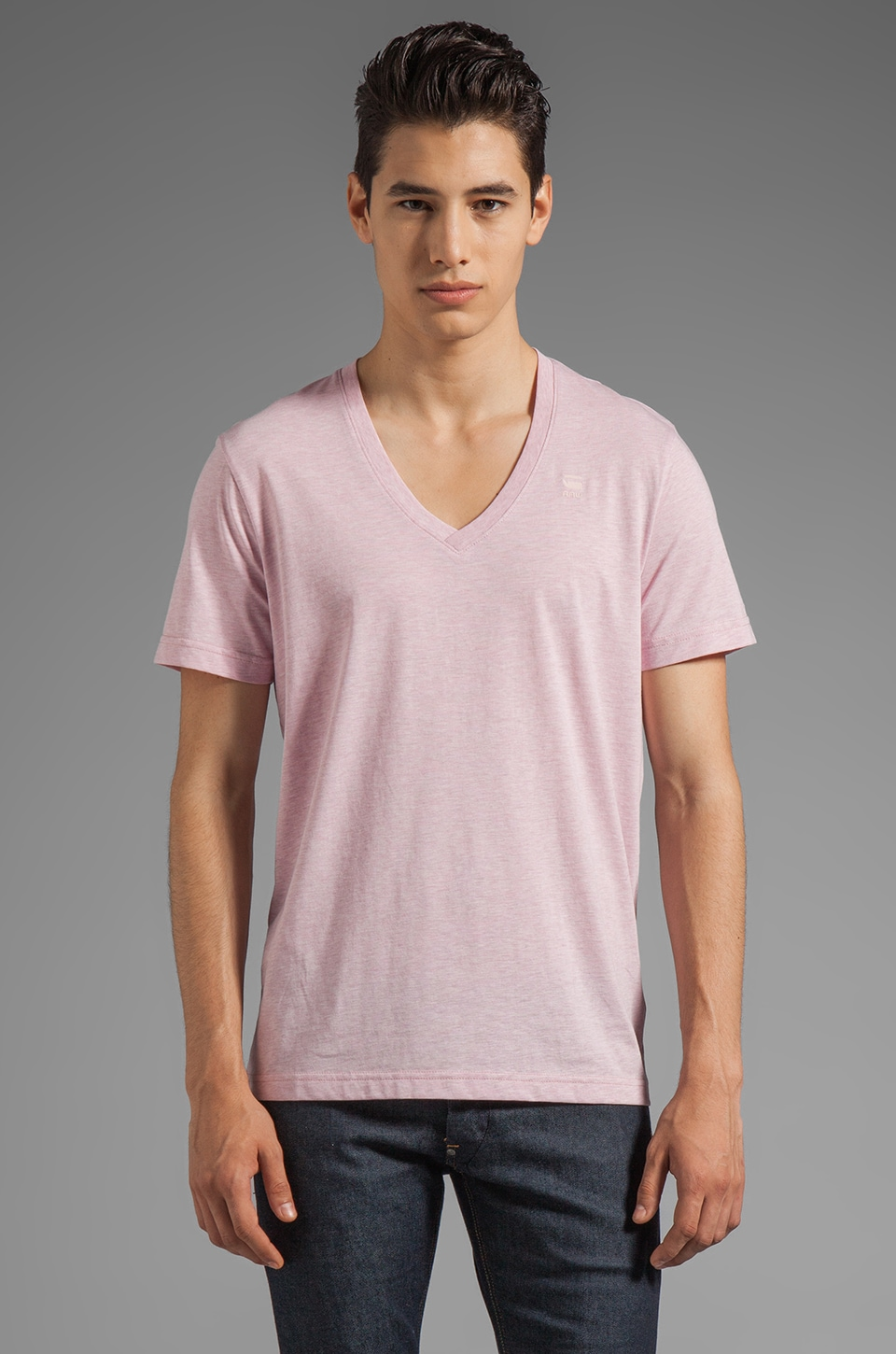 G-Star Correct Base Heather V Neck Tee in Dark Smoothy Heather
