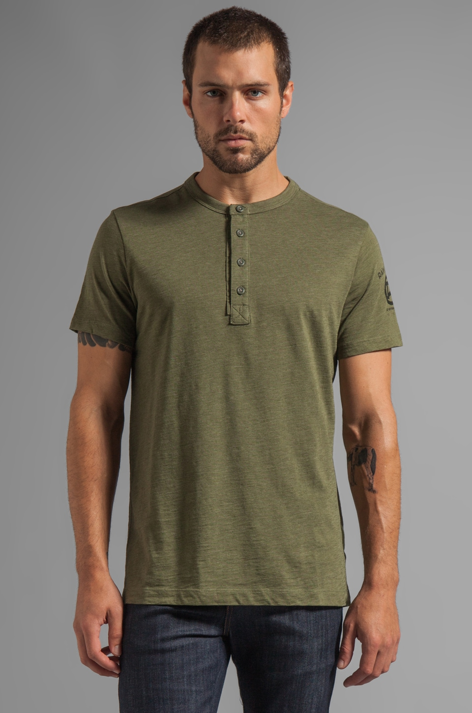 G-Star Miller Granddad Short Sleeve Tee in Sage