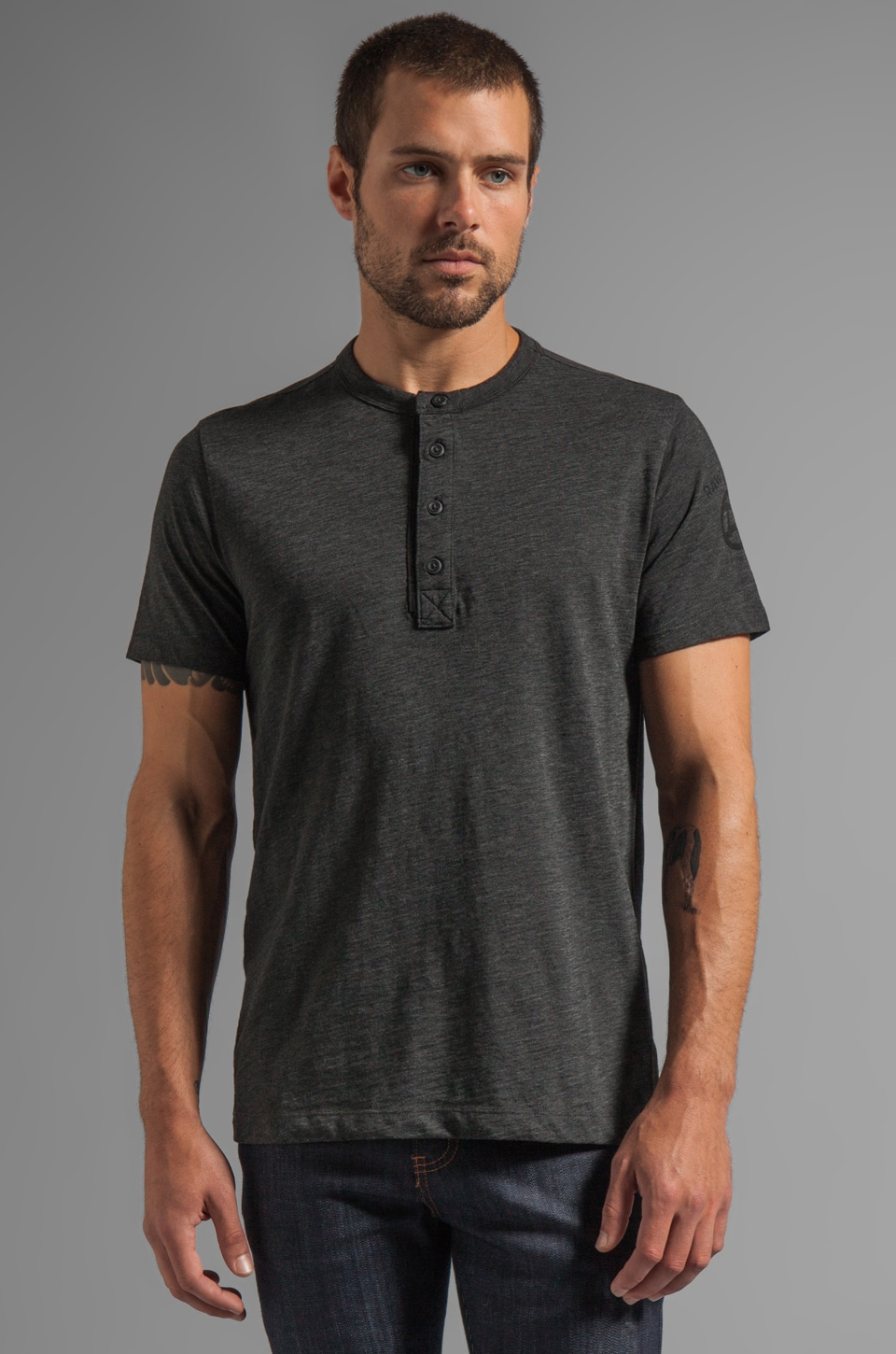 G-Star Miller Granddad Short Sleeve Tee in Black